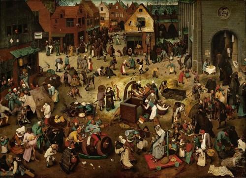 """Den mørke middelalder - """"Kampen mellem Carnival og Lent"""" af Pieter Bruegel den Ældre."""